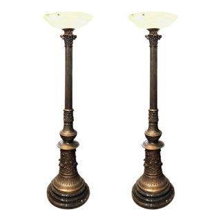 Ornate Bronze Torchieres Floor Lamps With Alabaster Shades - A Pair