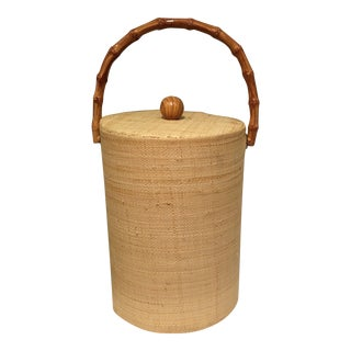 Raffia Wrapped Ice Bucket With Bamboo Handle