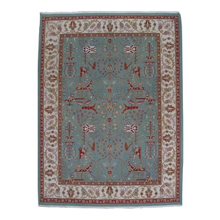 Red & Teal Soumak Design Hand Woven Wool Rug - 9' X 12'