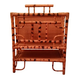 Tortoise Shell Finish Rattan Magazine Stand