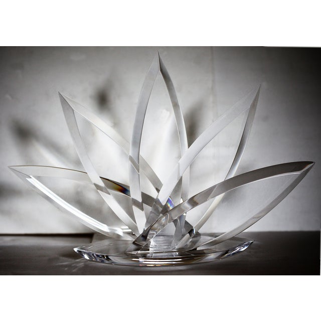 Image of Vintage Clear Lucite Lotus Sculpture