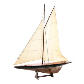 Antique 1920s Model Sailboat with Stand