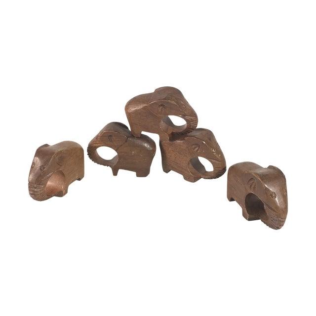 Vintage Carved Elephant Napkin Rings - Set of5 - Image 1 of 5