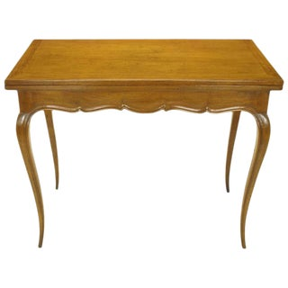 French Carved Fruitwood Cabriole Leg Flip-Top Game Table