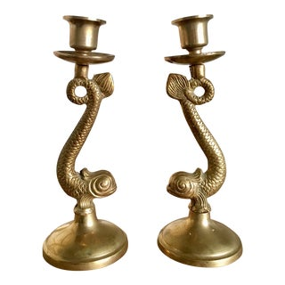 Mid-Century Asian Dolphin Candlesticks - A Pair