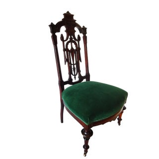 Velvet Walnut Victorian Chair