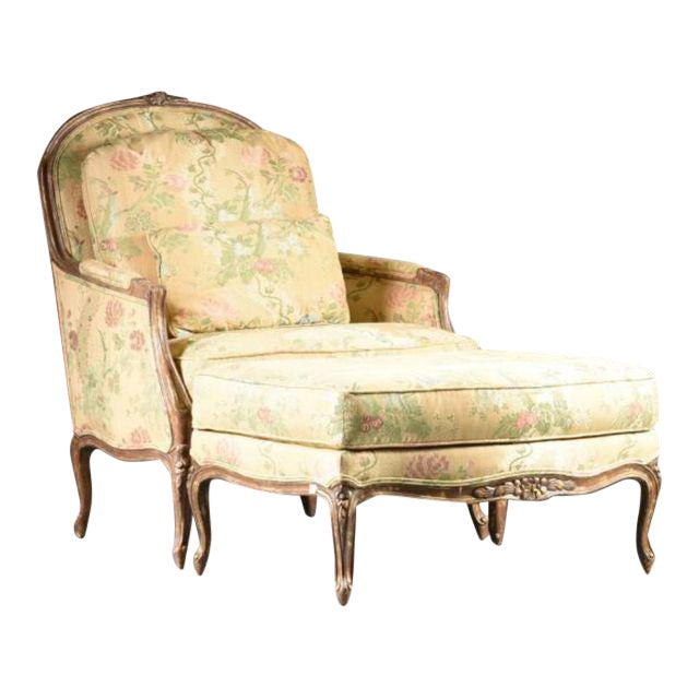 Louis XV Style Bergere & Footstool - Image 1 of 8