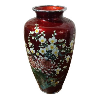 "Japanese Beautiful Red Cloisonné 12"" Vintage Flower Vase"