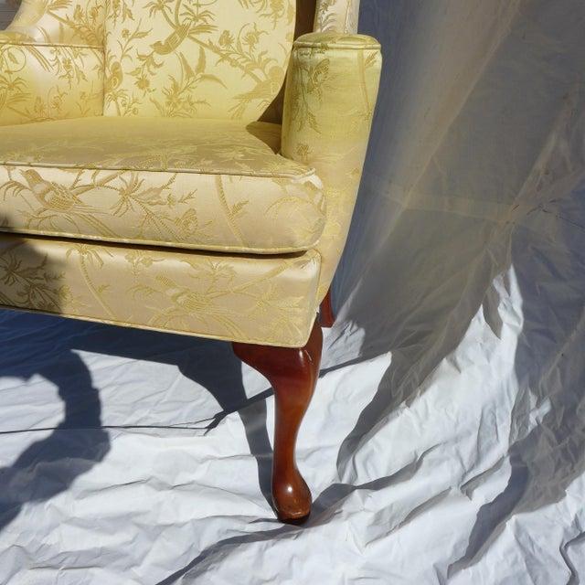 Vintage Mahogany & Yellow Damask Wingback Chair - Image 5 of 9