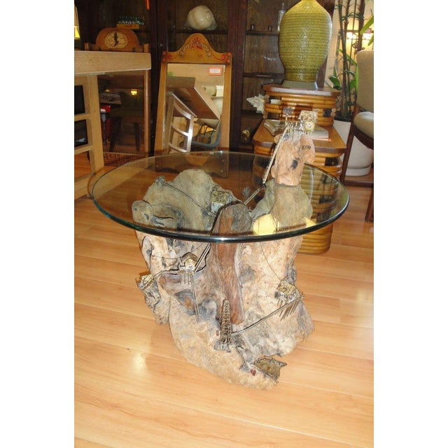 Unique Torch-Cut / Driftwood End Table - Image 2 of 8