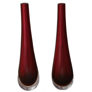 Cenedese Murano Glass Vase - A Pair