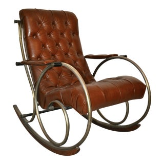 Antique Brass, Steel & Leather Rocking Chair