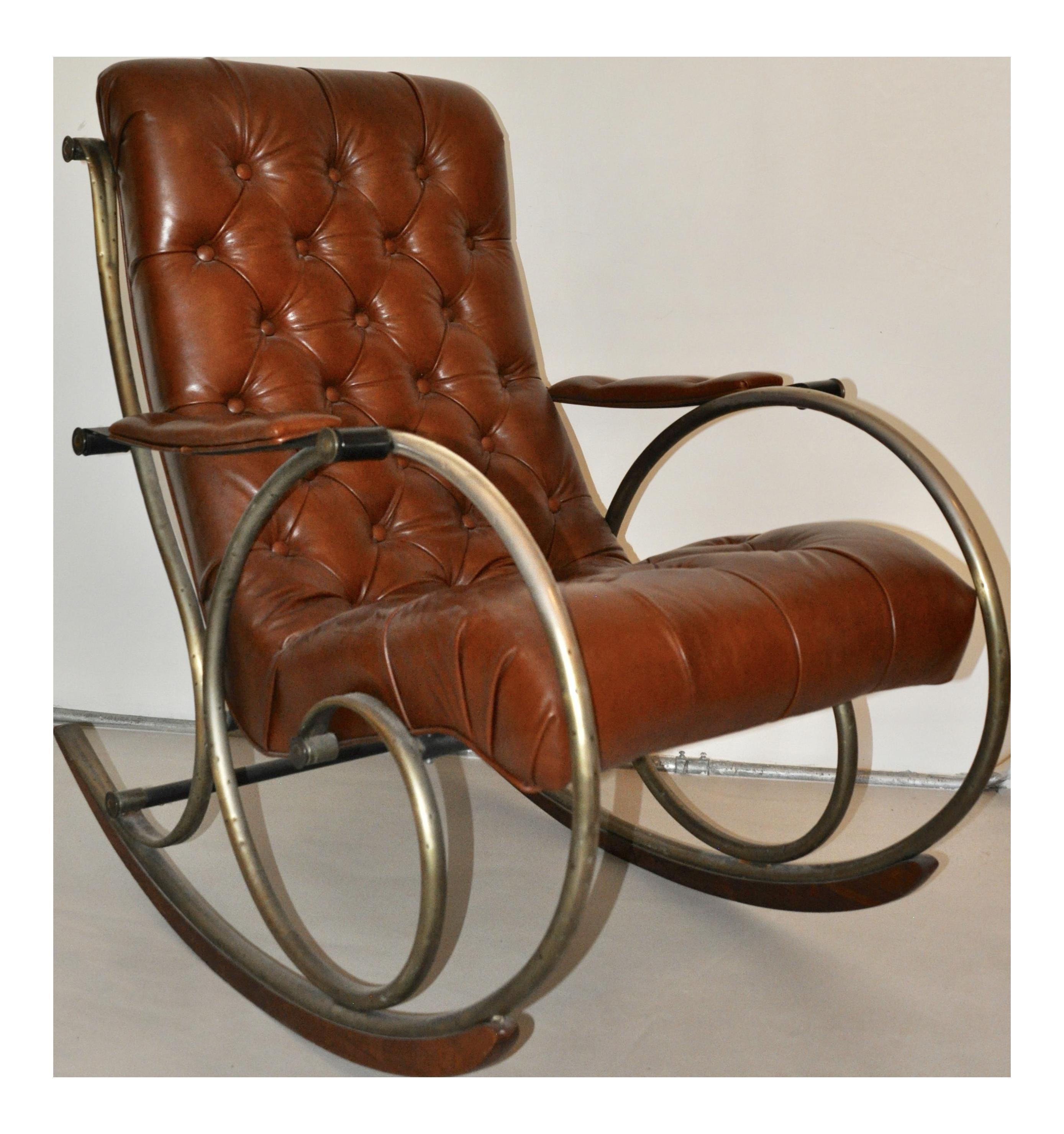 Antique Brass, Steel U0026 Leather Rocking Chair