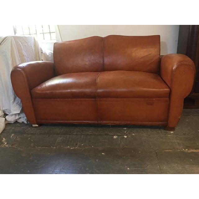 Image of 1940's Vintage Brown Leather Sleeper Sofa - 1940's Vintage Brown Leather Sleeper Sofa Chairish