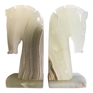 Onyx Horse Bookends - A Pair