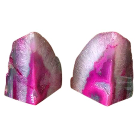 Large Pink and White Agate Geode Bookends - Pair - Image 1 of 6