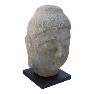 Antique Gray Stone Head of Buddha on Steel Base