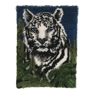 1970s Snow Tiger Latch Hook Wall Hanging