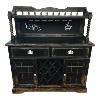 Black Distressed Bistro Coffee Bar Hutch Cabinet