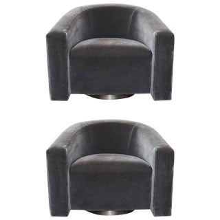 Donghia Barrel-Backed Swivel Chairs in Charcoal Grey Mohair