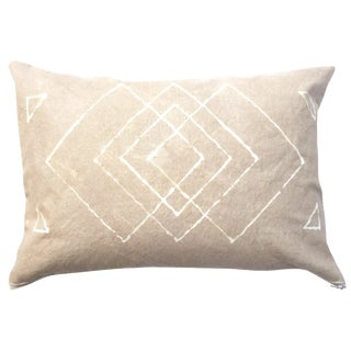 Hand-Dyed Tan Tribal Pillow Cover