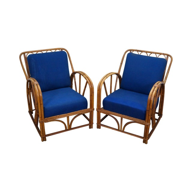 Image of Antique Rattan Bamboo Split Reed Lounge Chairs