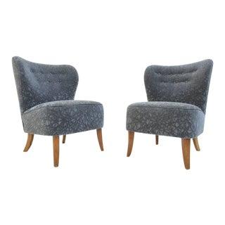 Pair of 1950s Tijsseling Chairs in Geometric Grey Velvet De Ploeg Fabric