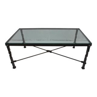 DeKOVEN Signed Hand Hammered Iron Rectangular Coffee Table .
