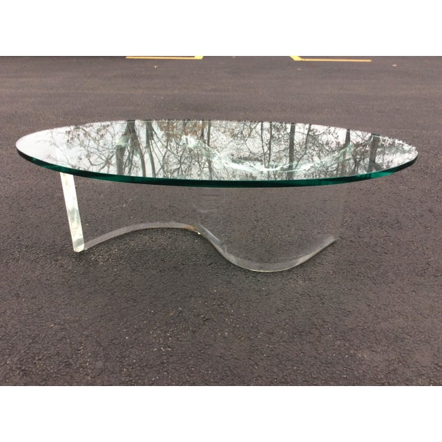 1970s Modern Serpentine Lucite Coffee Table - Image 7 of 8