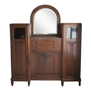 Art Deco Carved Walnut Storage Hutch