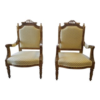 Hand Carved Gilded French Armchairs - A Pair