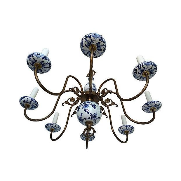 Blue & White Porcelain Chandelier - Image 4 of 8