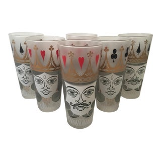 Vintage Mid-Century Playing Cards Frosted Tall Tumbler Drinking Glasses- Set of 6