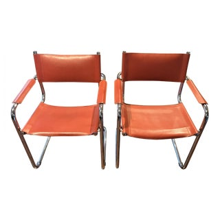 Mart Stam Thonet S34 Tubular Cantilever Chrome and Leather Chairs - a Pair