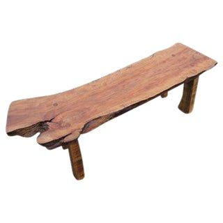 Apple Wood Live-Edge Bench With Maple Legs