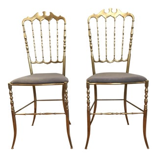 Brass Chiavari Chairs in Gray Velvet - A Pair