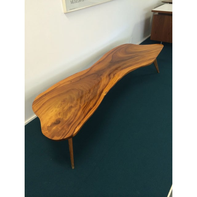 Large Vintage Monkey Pod Wood Slab Coffee Table - Image 2 of 7