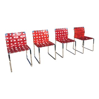 Mark Albrecht Studio Leather and Stainless Steel Side Chairs - Set of 4