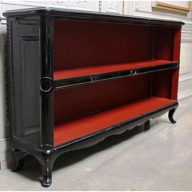 Image of Pair of French Black Lacquered Console Bookcases with Red Interior