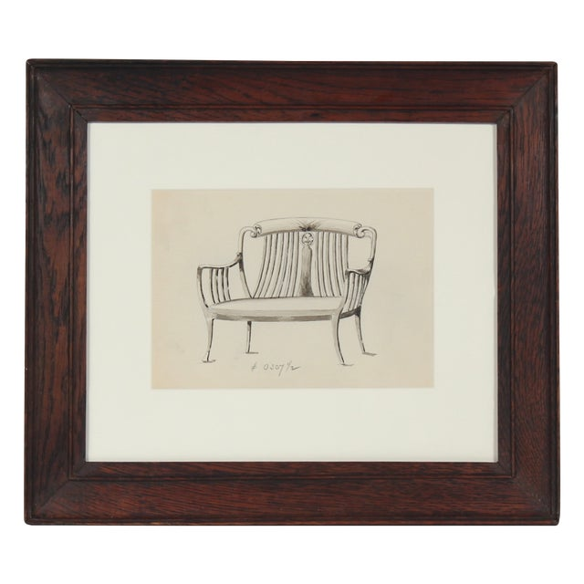 Early 20th Century Chair-Back Settee Drawing - Image 1 of 3