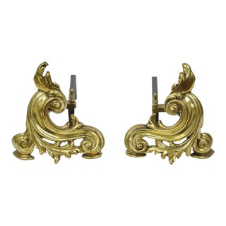 Brass Cast Iron Small French Nouveau Rococo Chenets Andirons - A Pair