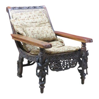 Anglo Indian 19th C. Burmese Style Lolling Chair