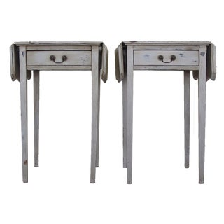 Grey Antique Drop Leaf End Tables - A Pair