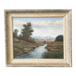 French Vintage Landscape Painting With Original Frame