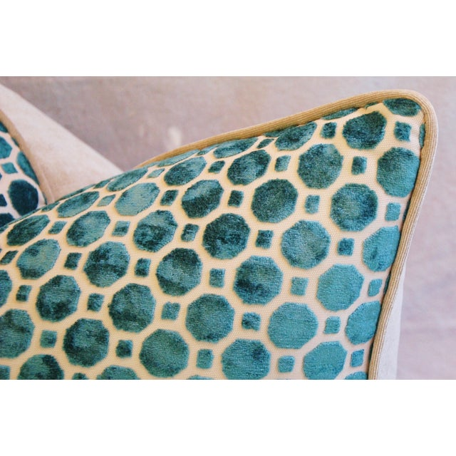 Turquoise Geometric Dot Velvet Feather/Down Pillow - Image 5 of 7