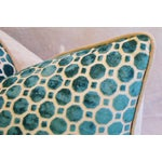 Image of Turquoise Geometric Dot Velvet Feather/Down Pillow