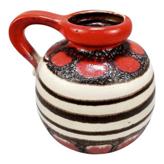 Scheurich Fat Lava Red & Black White Banded Pitcher