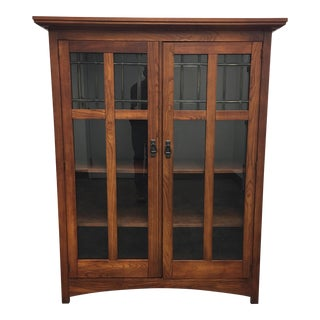 Bassett Furniture Mission Style Leaded Glass Book Case