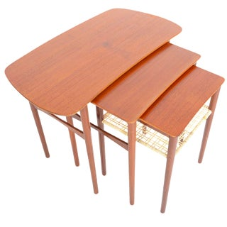 Atomic Danish Modern Teak & Cane Nesting Tables - Set of 3
