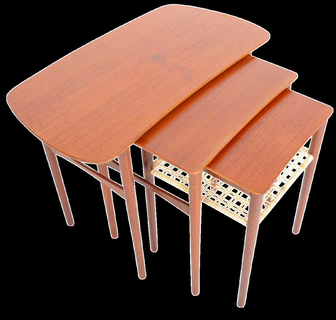 Atomic Danish Modern Teak U0026 Cane Nesting Tables   Set Of 3